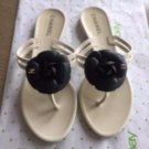 CHANEL Camellia Plastic Cream Thong Sandals Black Floral Flats SZ 37
