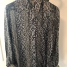 VTG ESCADA by Margaretha Ley Gray Silk Geometric Print Blouse SZ 36 German
