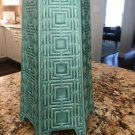 JONATHAN ADLER Turquoise Ceramic 6 Footed Vase Greek Key Pattern Hexagon RETIRED