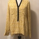 NWOT Anthropologie Vanessa Virginia Yellow Contrast Trim Long Sleeve Blouse SZ 8