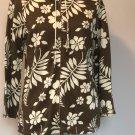 EUC TOMMY BAHAMA Linen Blend Brown Cream Print Zip Front Hoodie SZ S