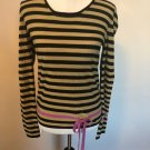 SONIA RYKIEL PARIS Tan Black Striped Sweater 100% Wool Sweater SZ FR 44 US 10