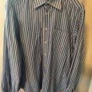 VALENTINO ROMA Corn Blue Button Front Shirt Cotton Stripe SZ 16.5 34/35