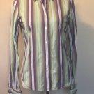 EUC ROBERT GRAHAM Button Front Purple Green Striped Cuffed Shirt SZ 6