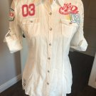 EUC HARLEY DAVIDSON White Cotton Camp Shirt Embroidered Snap Front SZ M