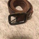 EUC ISABEL MARANT Brown Leather Belt Square Bronze Metallic Buckle SZ S