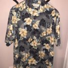 NWOT TOMMY BAHAMA 100% Silk Light Gray Yellow, Blue, & Green Floral Print SZ M