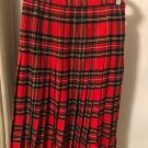 VTG Scotch house 100% 1970s Wool Red Plaid Pleated Mid Calf Skirt Scotland SZ S