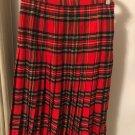 VTG Scotch house 100% 1970s Wool Red Plaid Pleated Mid Calf Skirt Scotland SZ S
