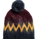 ERDEM x H&M Jaquard Knit Burgundy & Gold Mohair Blend Hat Pom Pom Detail SZ O/S