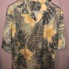 NWOT TOMMY BAHAMA Seafoam Green Yellow Floral Print Short Sleeve SZ L
