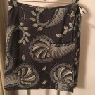 NWOT TOMMY BAHAMA Silk Broad Cloth Gray Front Wrap Skirt Shell Print Detail SZ 8
