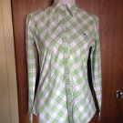 LILLY PULITZER Multicolor Plaid 100% Cotton White, Green, Pink Button Down SZ 8
