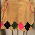NWOT Lilly Pulitzer Tan Corduroy A-line Diamond Applique Skirt SZ 10