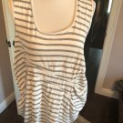 EUC CLARA COLLINS White Gray Striped Sleeveless Umpire Waist Gathered Top SZ M