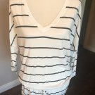 EUC C&C CALIFORNIA White Black Striped Cotton Blend Drawstring Tunic SZ M