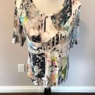 EUC BASLER Jersey Multi color Print Short Sleeve Top SZ US 14