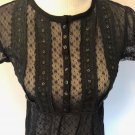 EUC FREE PEOPLE  Black Lace Baby Doll Top Lantern Sleeve SZ M