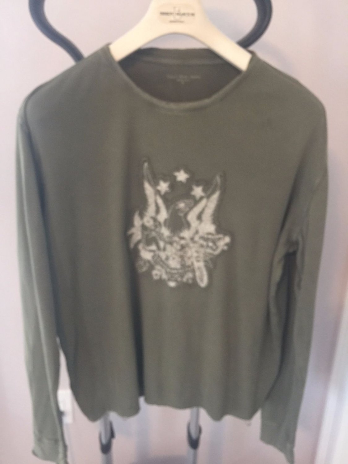 Pre-owned CALVIN KLEIN JEANS Army Green Long Sleeve T-shirt Eagle Applique SZ XL