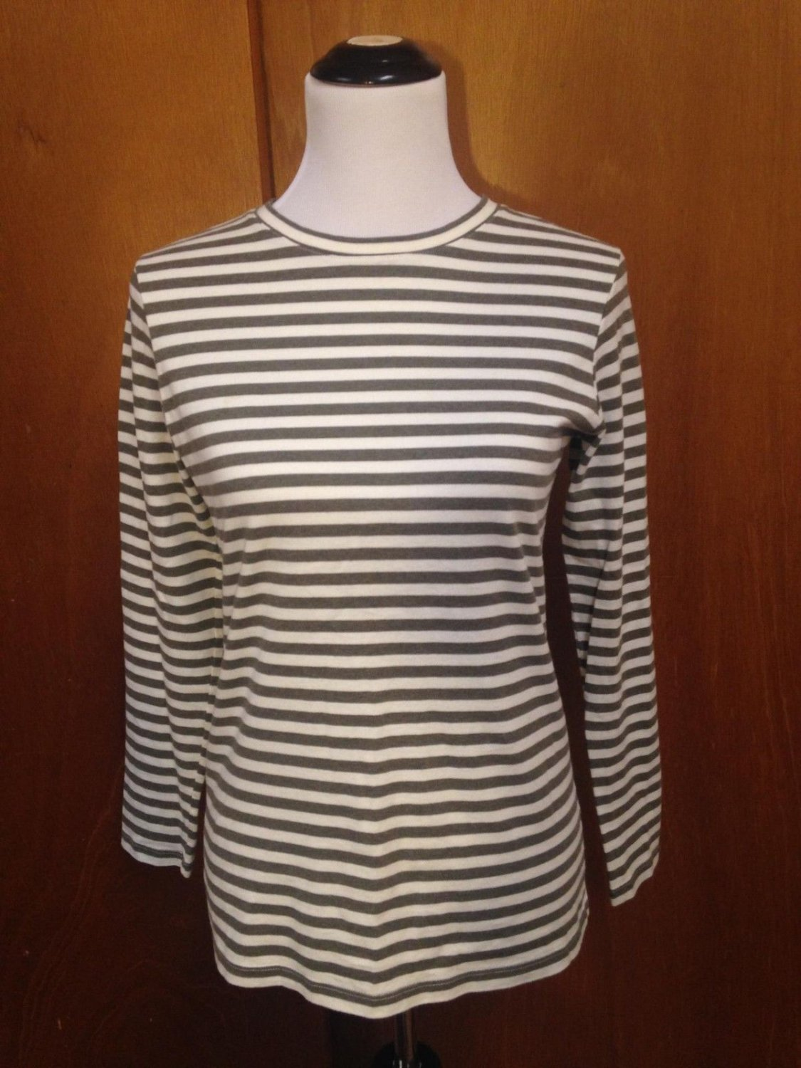 Women's BARNEYS NY White & Brown Striped 100% Cotton Long Sleeved T-shirt SZ L