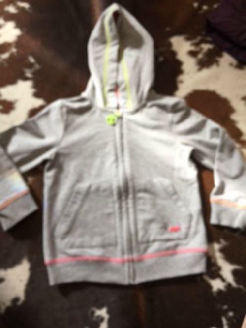 Pre-owned MAYORAL CHIC Gray Zip Up Hoodie Pink Lined Hood SZ 4 Girls Kids