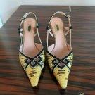 EUC PRADA Snake Print Yellow & Black Slingback Shoes SZ  36