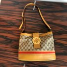 VTG GUCCI Beige GG Logo with Leather Trim Bucket Bag Made in ITALY