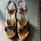 Good Condition MISSONI Gold Metallic Leather Cork Wedge Sandals SZ IT 38/US 8
