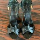 EUC GIVENCHY Black Open Toe Side Buckle High Heel Sandal SZ 36.5/US 6.5
