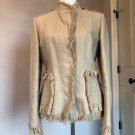 EUC DOLCE & GABBANA Linen Fitted Beige Safari Jacket Fringe Detail SZ IT 46