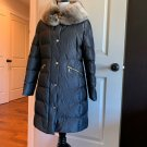 Pre-owned BASLER Gray Down Field Coat Fur Collar SZ US 10 **Damaged Zipper**