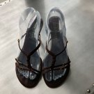 EUC MICHEL PERRY Brown Suede Thong Slides SZ 7.5