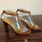 Pre-owned FENDI t-strap High Heel Brown Gold Sandal SZ 36