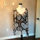 NWOT GUCCI Paisley Print White, Brown  Boho Top SZ L US 10-12 Made in Italy