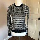 EUC A.L.C. Wool Jacquard Anchor Pattern Navy & White Long Sleeve Sweater SZ S/P