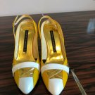 EUC CORTNEY CRAWFORD Yellow & White High Heel Slingback SZ 36