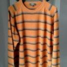 EUC Fiji Orange Striped 100% Cashmere Sweater SZ XL