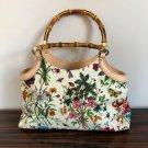 NWOB GUCCI Floral Printed Fabric Handbag Bamboo Handles Made in Italy