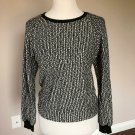 EUC L'AGENCE Black White Wool Blend Boucle Sweatshirt SZ S