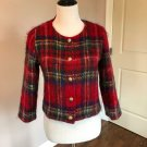 EUC RODEBJER Mohair Red Plaid Cropped Jacket SZ S