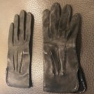 NWOT BARNEYS NY BLACK LEATHER Gloves Patent Leather Trim SZ 6 Made in France