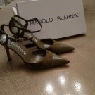 EUC Green Suede & Leather Manolo Blahnik Ankle Strap Shoes SZ 36 Made in Italy