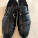 BRUNO MAGLI Black Dress Shoes Silver Buckle Detail SZ 9.5 hand made ITALY