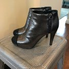 EUC CHANEL Dark Gray Leather Stingray Effect Iridescent Ankle Boots SZ 36.5