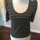 NWT TORN by RONNIE KOBO Black White Striped Short Sleeve Top SZ M