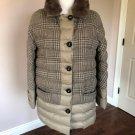 Pre-owned PUFFER JACKET Detachable Sheered Rabbit Collar SZ US 12 Made in Italy