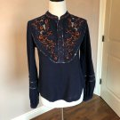 EUC FREE PEOPLE Navy Blue Cotton Embroidered Top SZ XS
