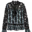 ERDEM x H&M Black Patterned Floral Blouse SZ 2 SOLD OUT