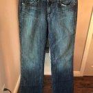 EUC PAIGE Premium Denim Blue Jeans Distressed Dark Wash Straight Leg SZ 28