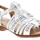 NWOB TEJIDAS Footsmart White Braided Leather Sandals SZ 8W Walking Shoes